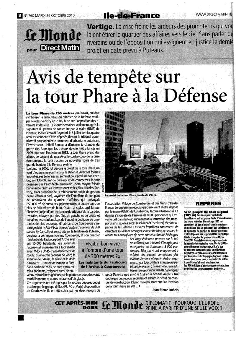 Tour Phare Le monde 26 oct 2010