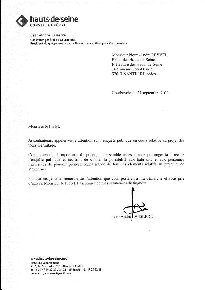 2011-09 Lettre Préfet Enquête publique Hermitage