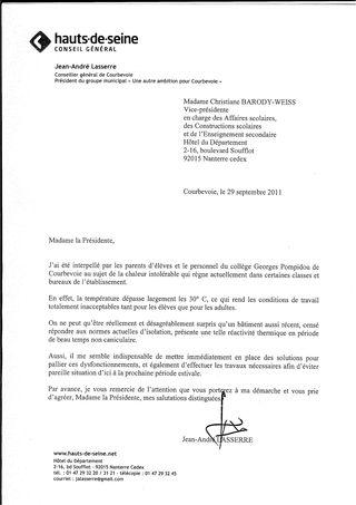 2011-09 Lettre C. BARODY-WEISS Collège Pompidou