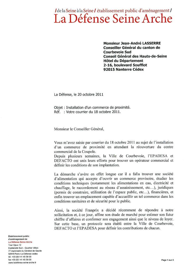Courrier du 20 octobre 2011- commerce de proximite coupole-regnault-JCRaJAL