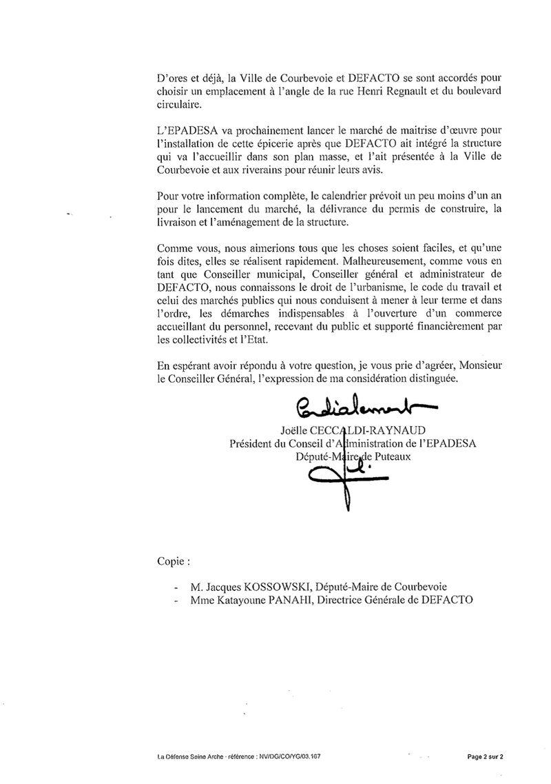 Courrier du 20 octobre 2011- commerce de proximite coupole-regnault-JCRaJAL2