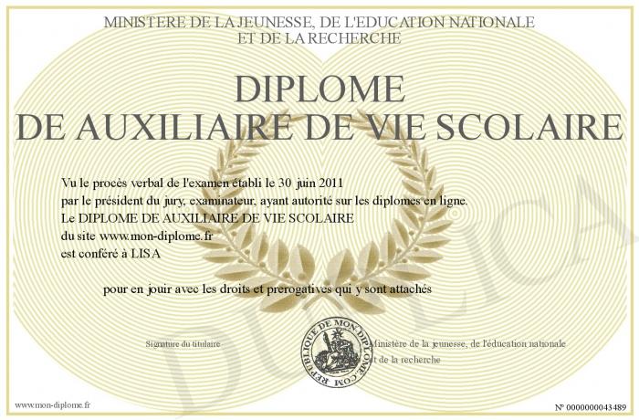 700-43489-DIPLOME DE AUXILIAIRE DE VIE SCOLAIRE