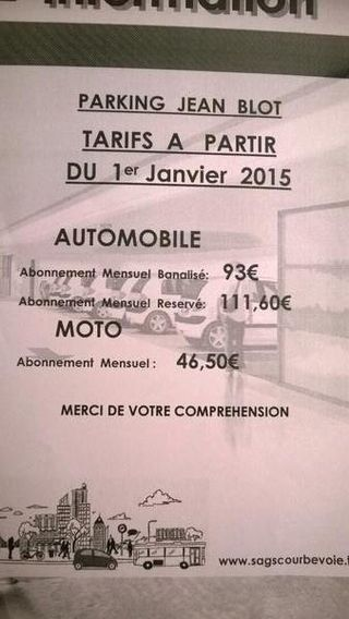Tarif stationnement Jean Blot