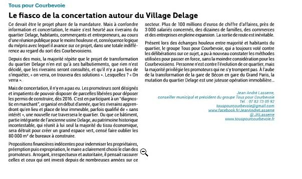 Tribune_CourbevoieMag_Village_Delage_201511